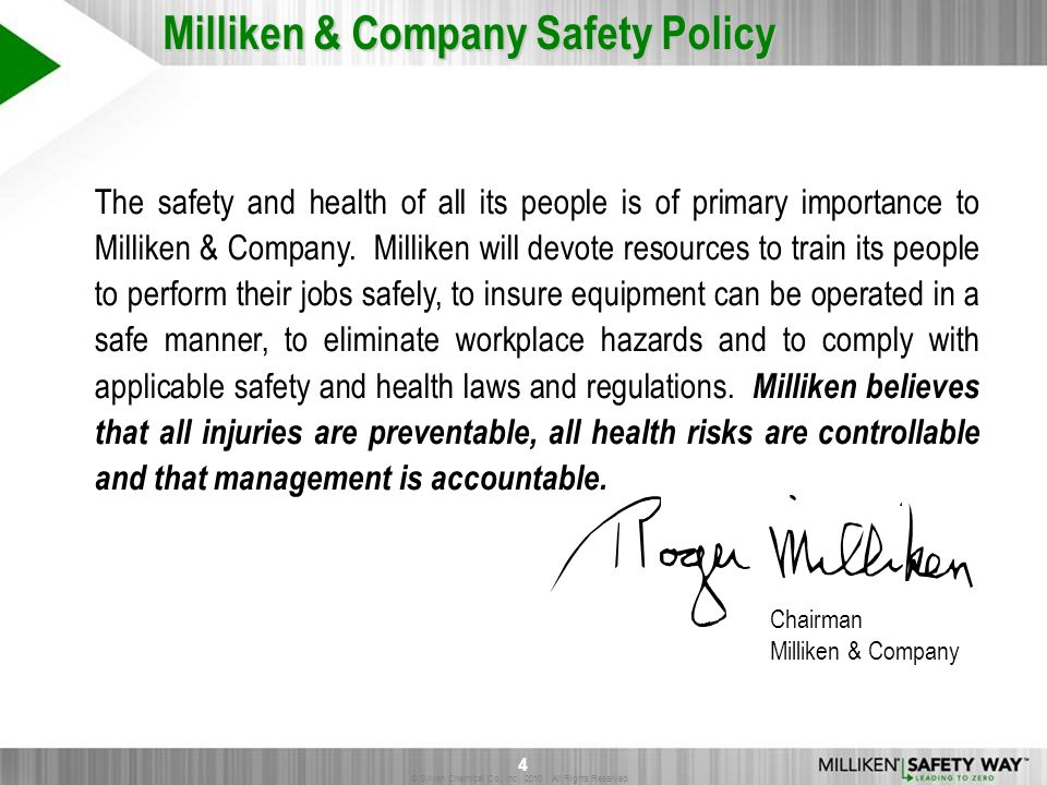 Milliken & Company Safety Policy
