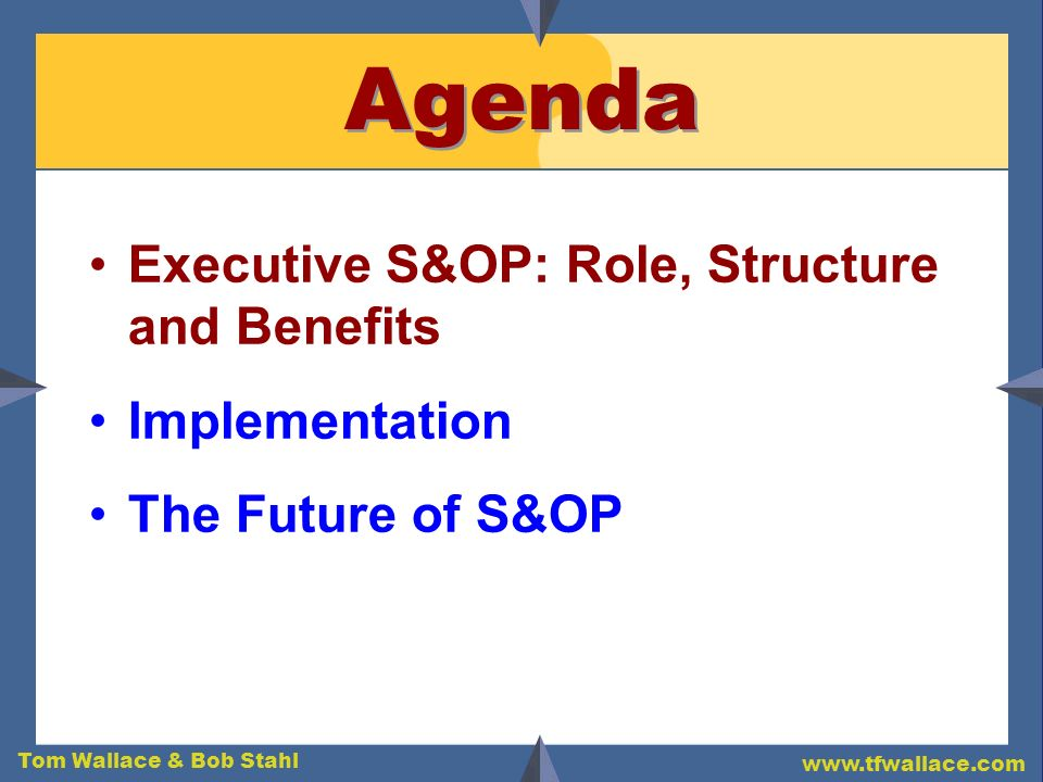 Agenda Executive S&OP: Role, Structure and Benefits Implementation