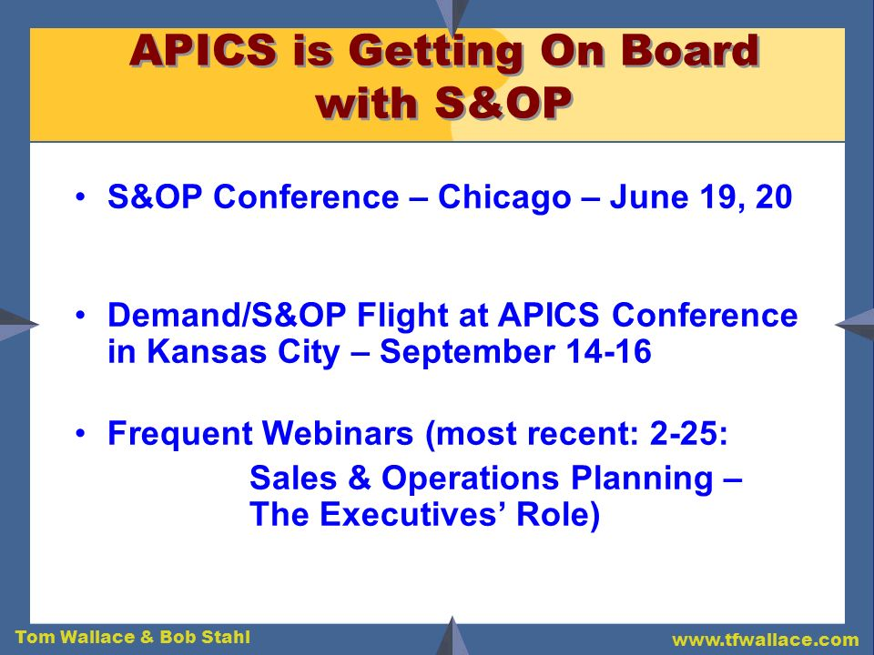 APICS is Getting On Board with S&OP