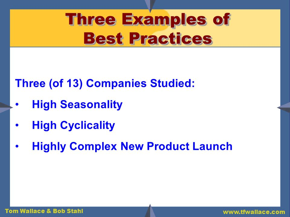 Three Examples of Best Practices
