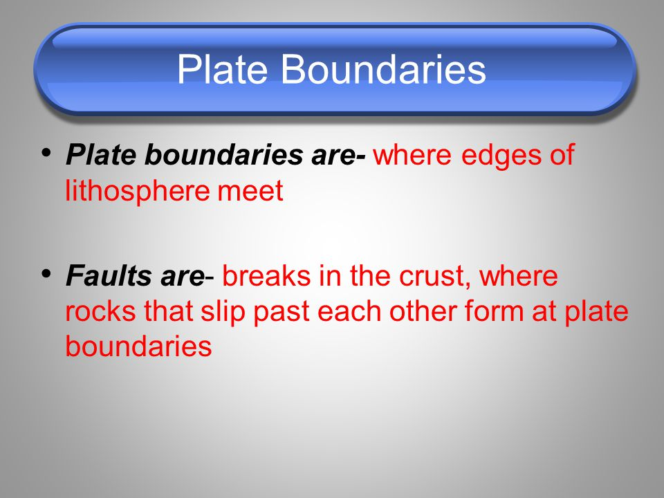 Plate Boundaries Plate boundaries are- where edges of lithosphere meet