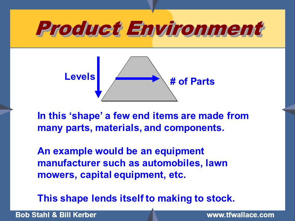 Product Environment Levels # of Parts