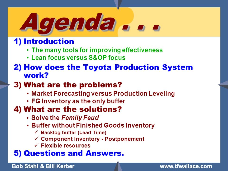Agenda Introduction How does the Toyota Production System work