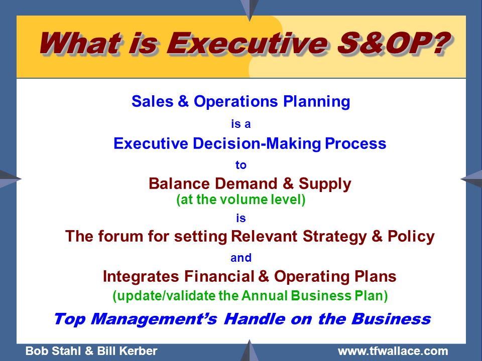 What is Executive S&OP Sales & Operations Planning