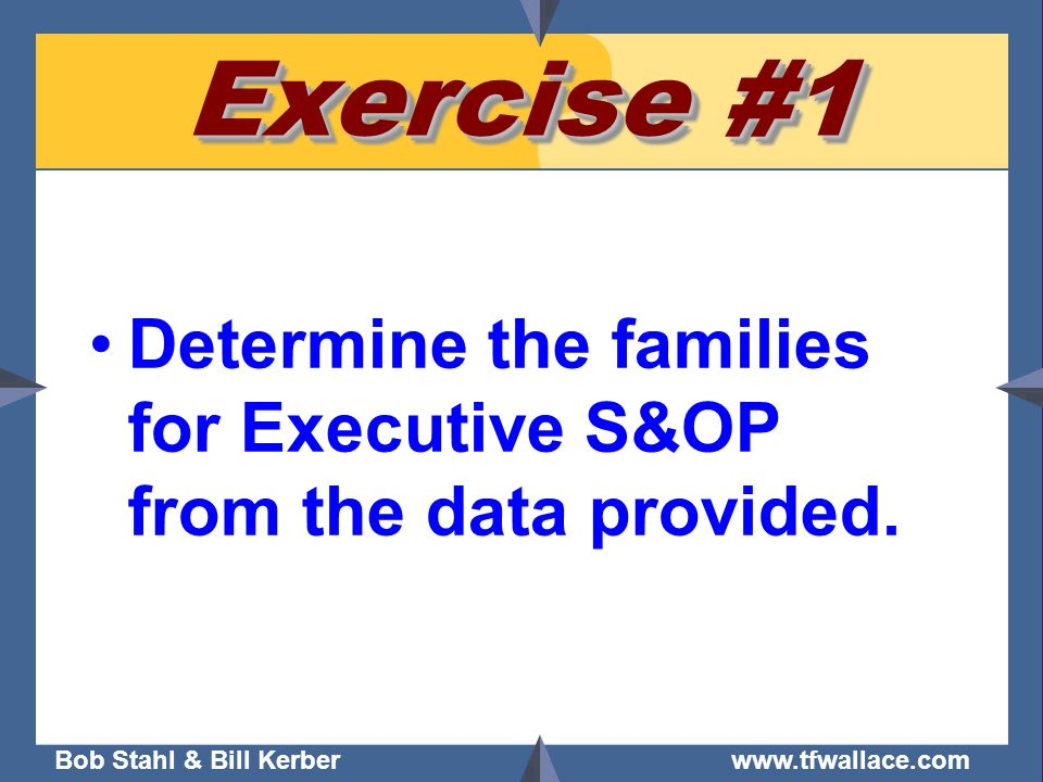 Exercise #1 Determine the families for Executive S&OP from the data provided.