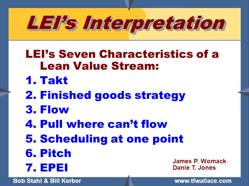 LEI's Interpretation LEI's Seven Characteristics of a Lean Value Stream: Takt. Finished goods strategy.