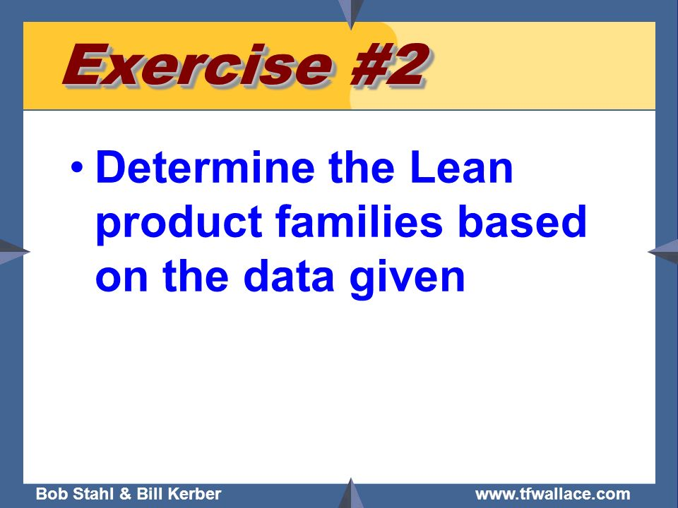 Exercise #2 Determine the Lean product families based on the data given