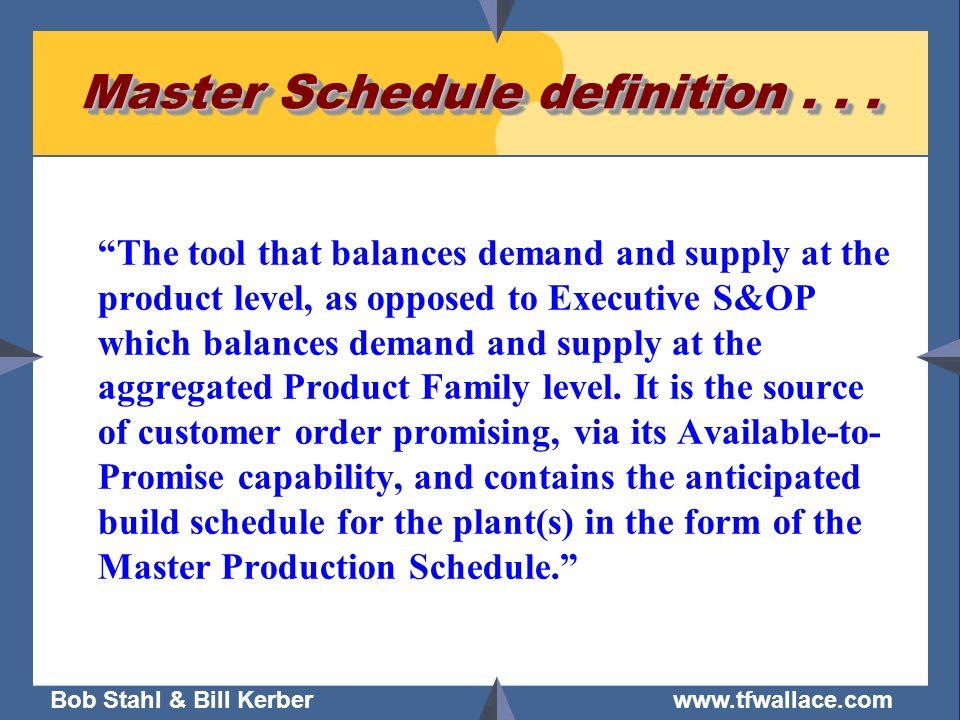Master Schedule definition . . .