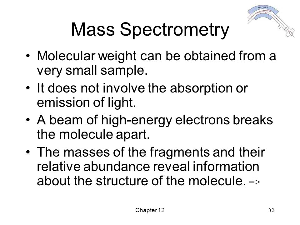 Mass Spectrometry Molecular weight can be obtained from a very small sample. It does not involve the absorption or emission of light.