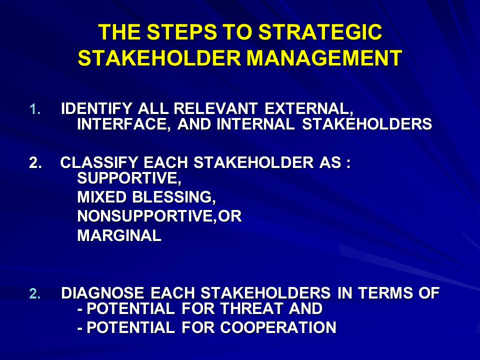 THE STEPS TO STRATEGIC STAKEHOLDER MANAGEMENT
