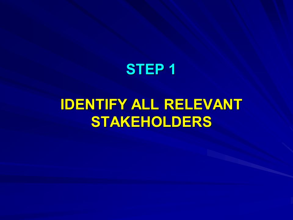 STEP 1 IDENTIFY ALL RELEVANT STAKEHOLDERS