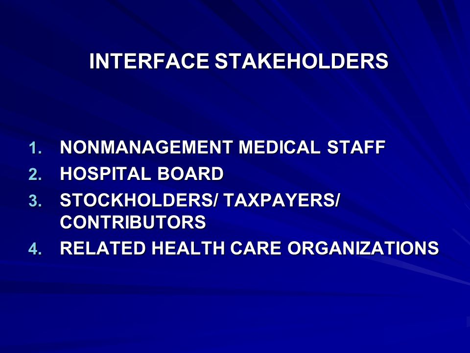 INTERFACE STAKEHOLDERS