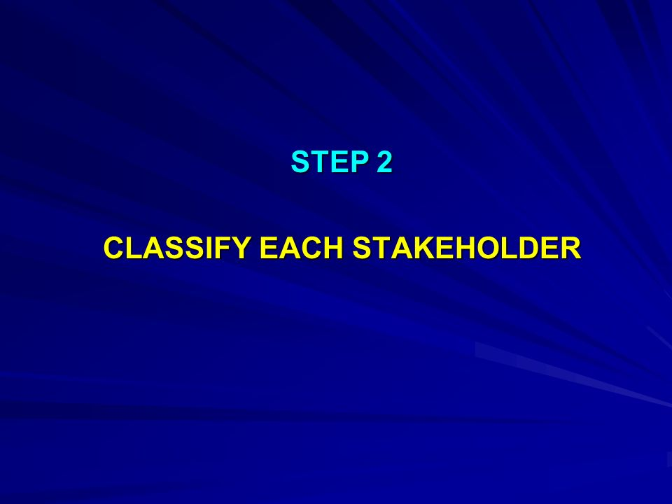 CLASSIFY EACH STAKEHOLDER