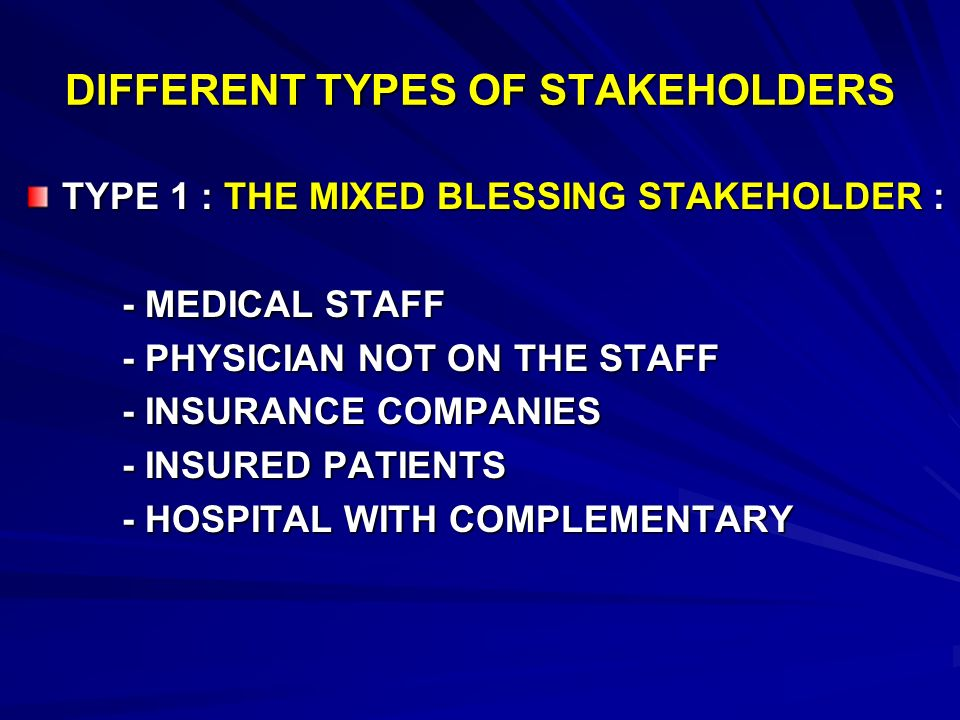 DIFFERENT TYPES OF STAKEHOLDERS