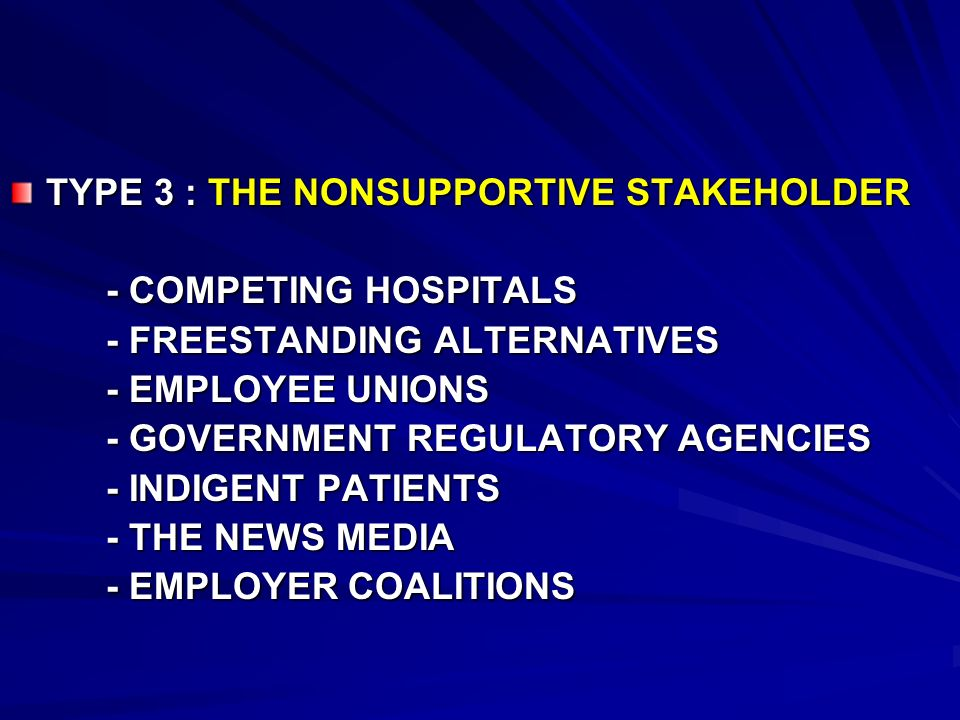TYPE 3 : THE NONSUPPORTIVE STAKEHOLDER