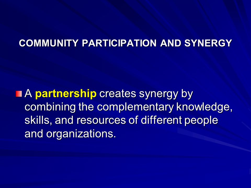 COMMUNITY PARTICIPATION AND SYNERGY
