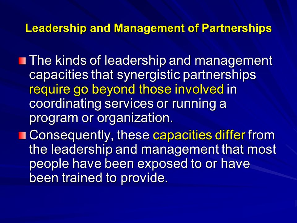Leadership and Management of Partnerships