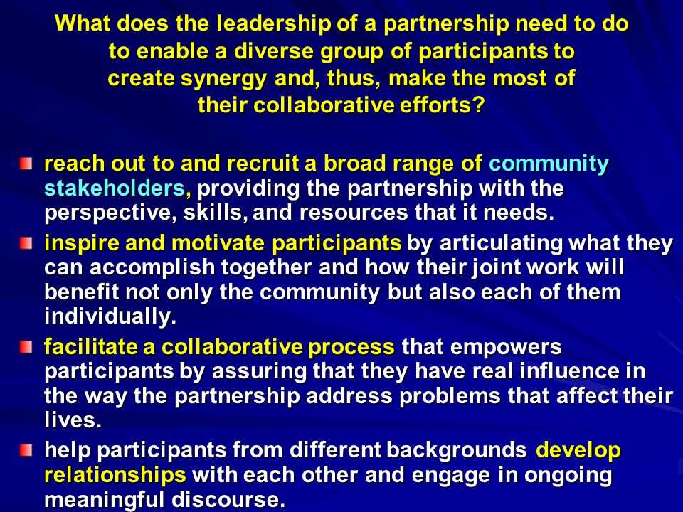 What does the leadership of a partnership need to do to enable a diverse group of participants to create synergy and, thus, make the most of their collaborative efforts