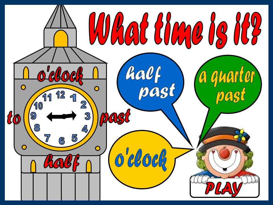 What time is it o clock. half. a quarter. past. past. 12. 11. 1. 10. 2. past. to. 9. 3.