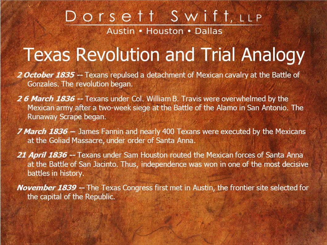 Texas Revolution and Trial Analogy