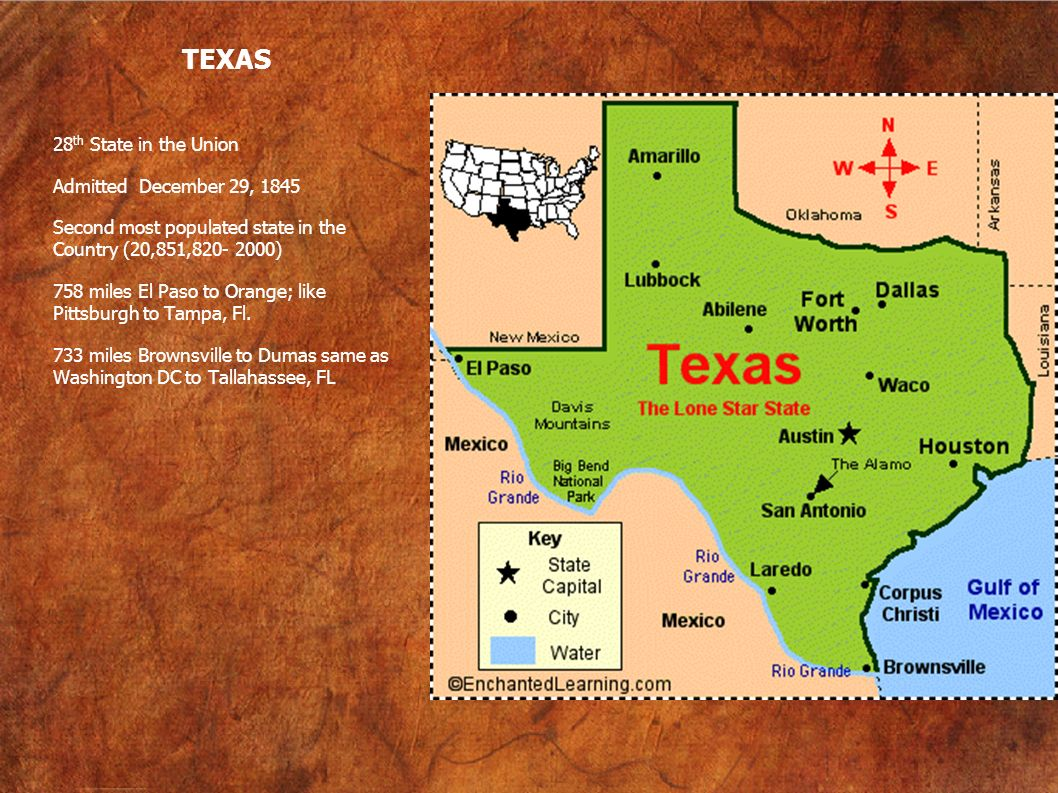 TEXAS 28th State in the Union Admitted December 29, 1845