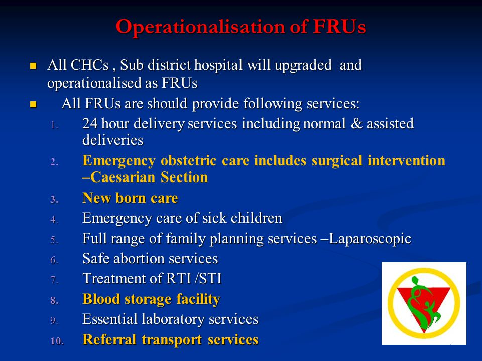 Operationalisation of FRUs