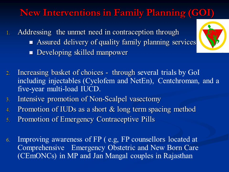 New Interventions in Family Planning (GOI)