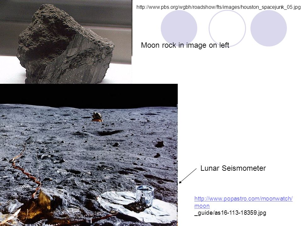 Moon rock in image on left