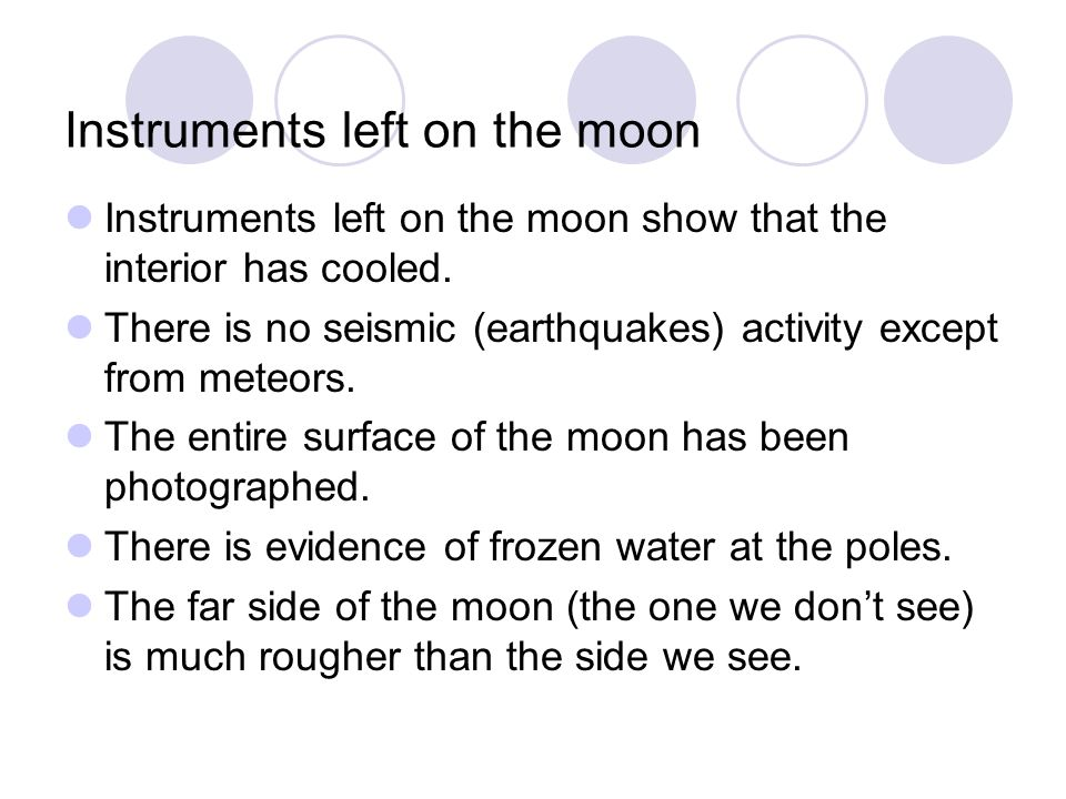 Instruments left on the moon
