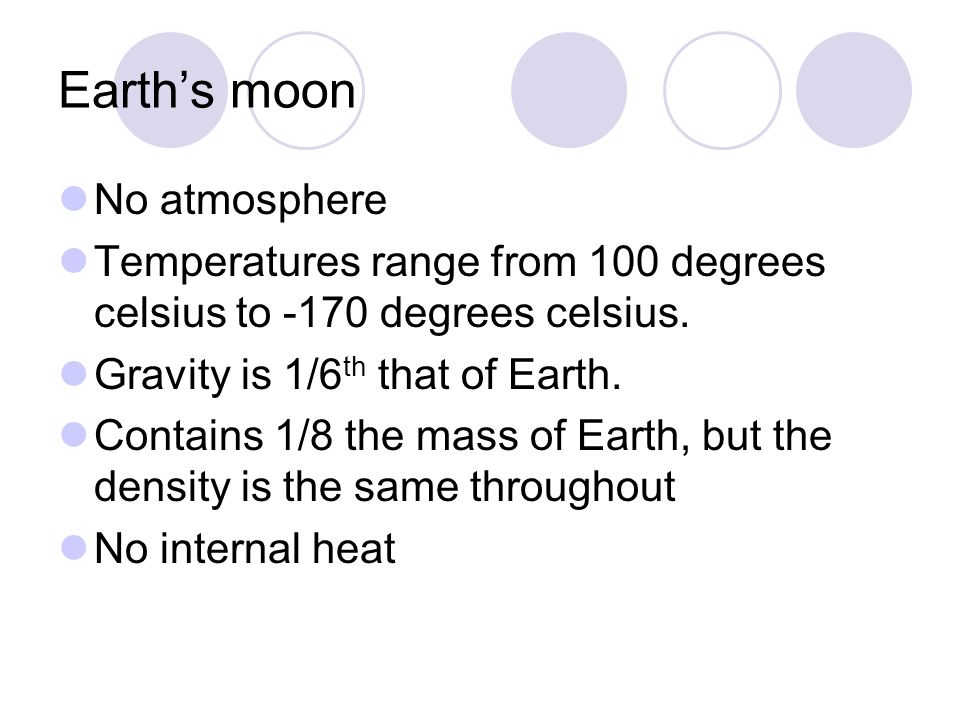 Earth's moon No atmosphere