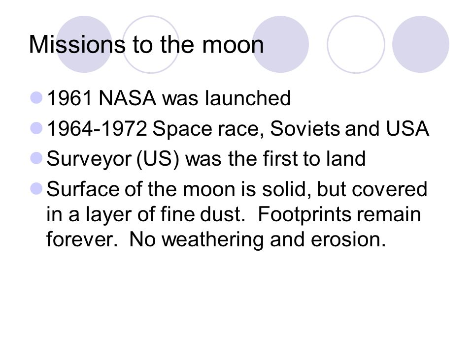 Missions to the moon 1961 NASA was launched