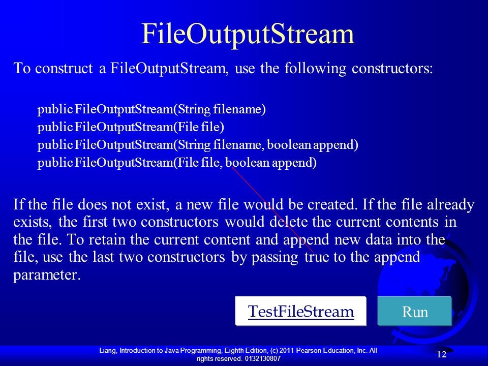 FileOutputStream To construct a FileOutputStream, use the following constructors: public FileOutputStream(String filename)