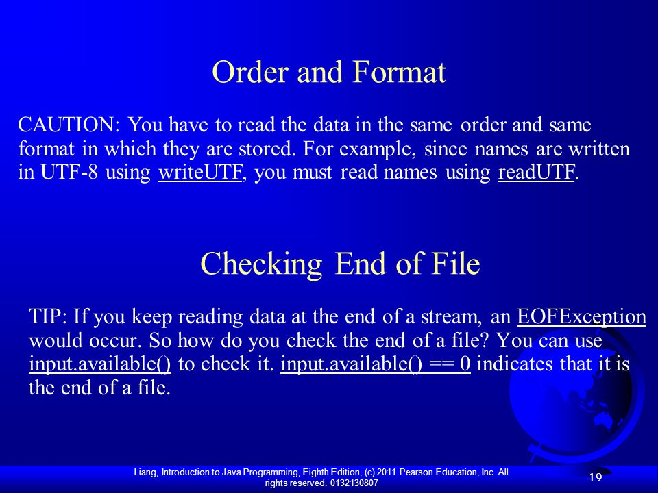 Order and Format Checking End of File