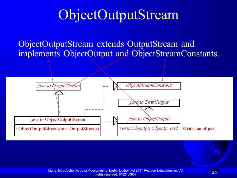 ObjectOutputStream ObjectOutputStream extends OutputStream and implements ObjectOutput and ObjectStreamConstants.