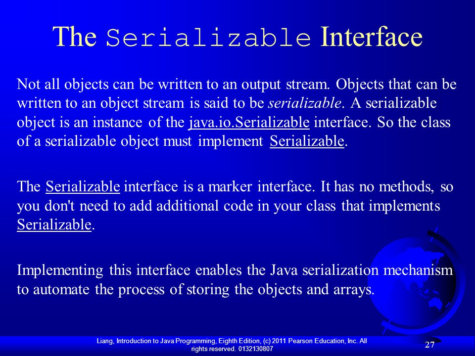 The Serializable Interface