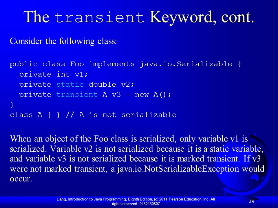 The transient Keyword, cont.