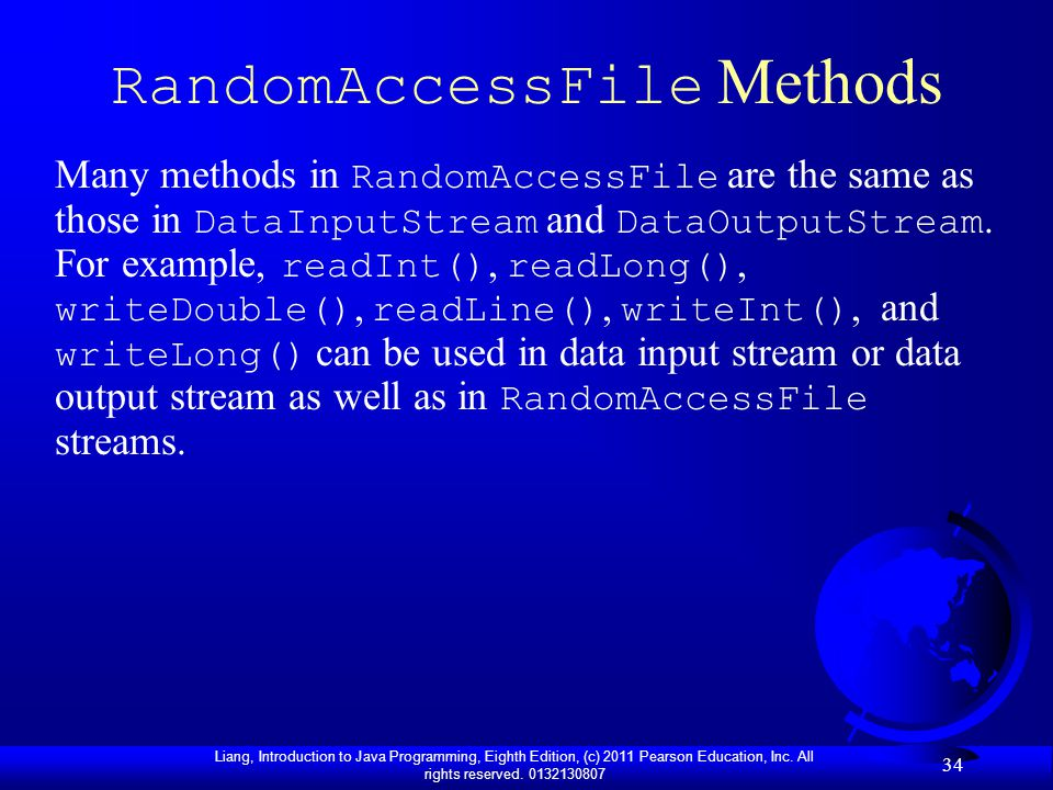 RandomAccessFile Methods