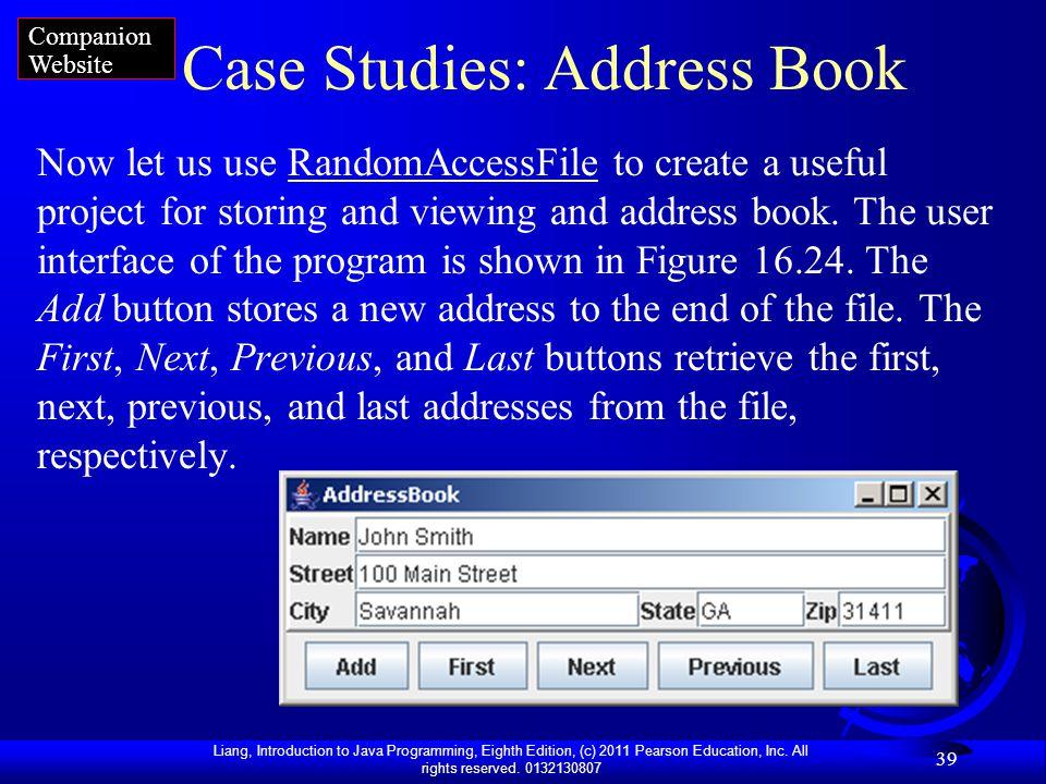 Case Studies: Address Book