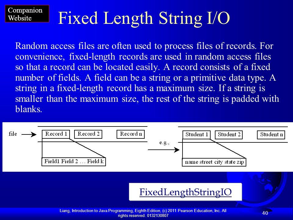Fixed Length String I/O