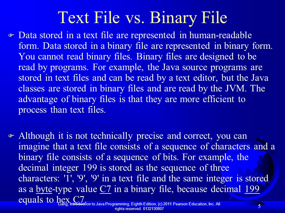 Text File vs. Binary File