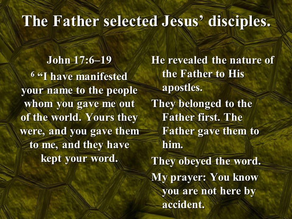 The Father selected Jesus' disciples.