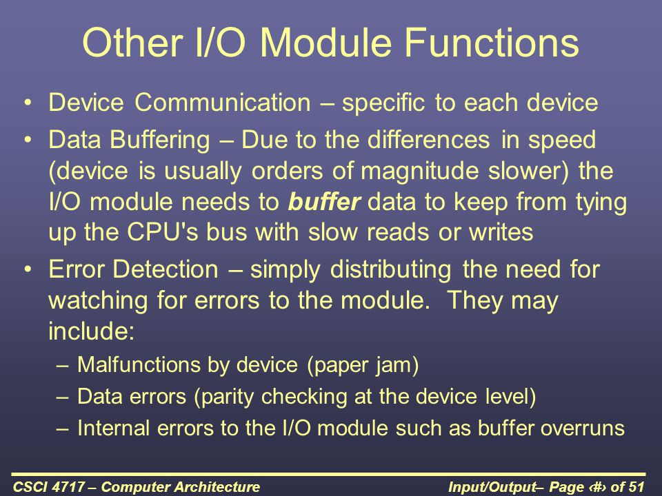 Other I/O Module Functions