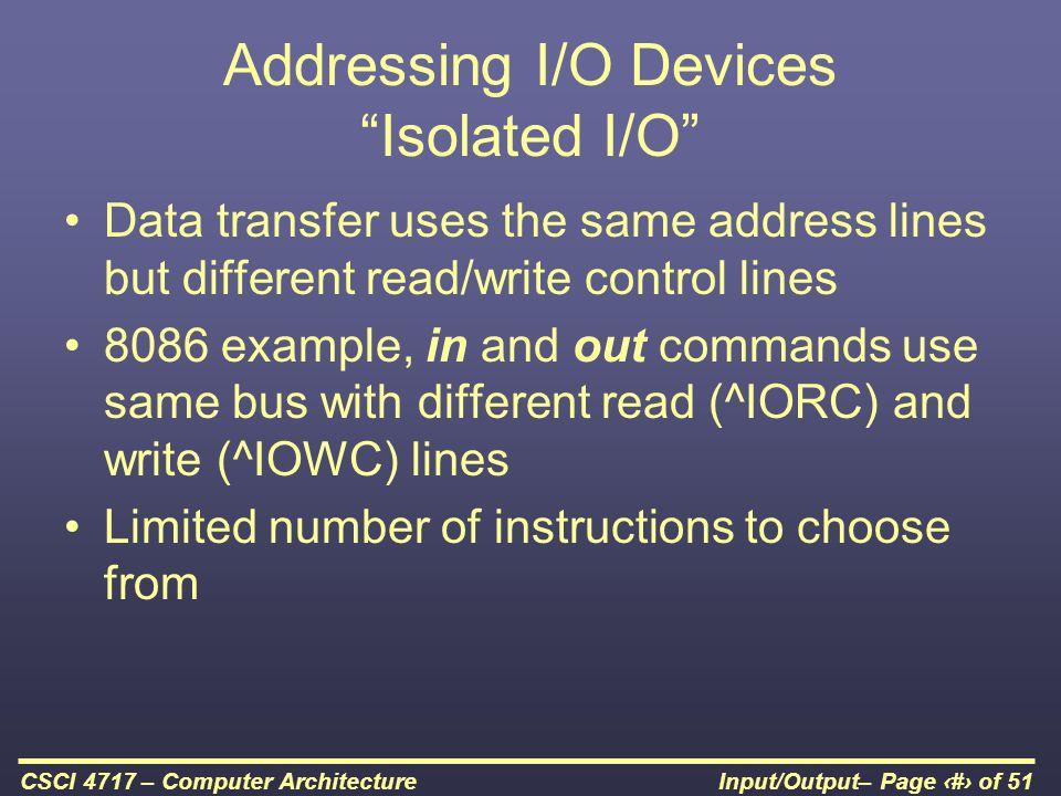 Addressing I/O Devices Isolated I/O