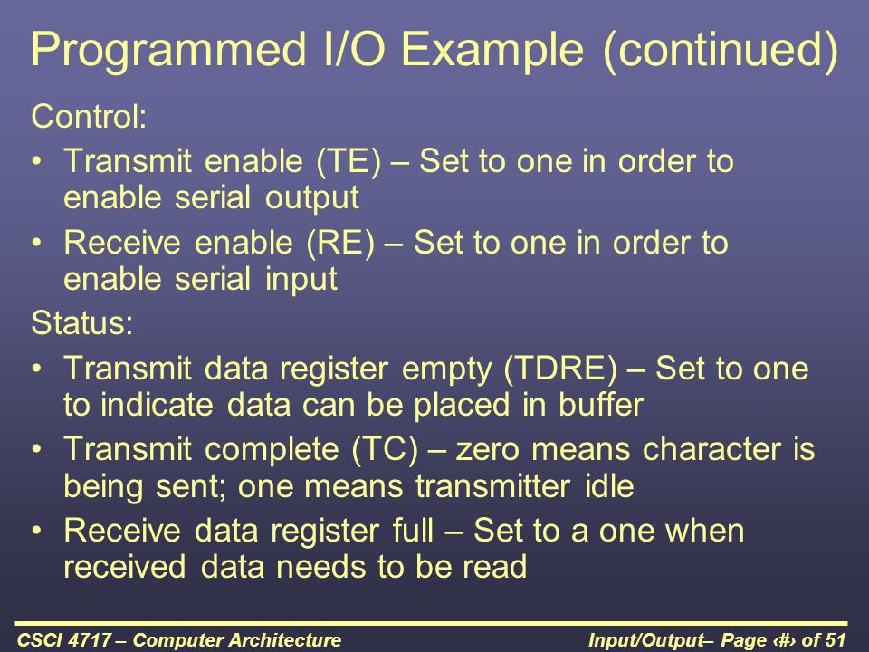 Programmed I/O Example (continued)