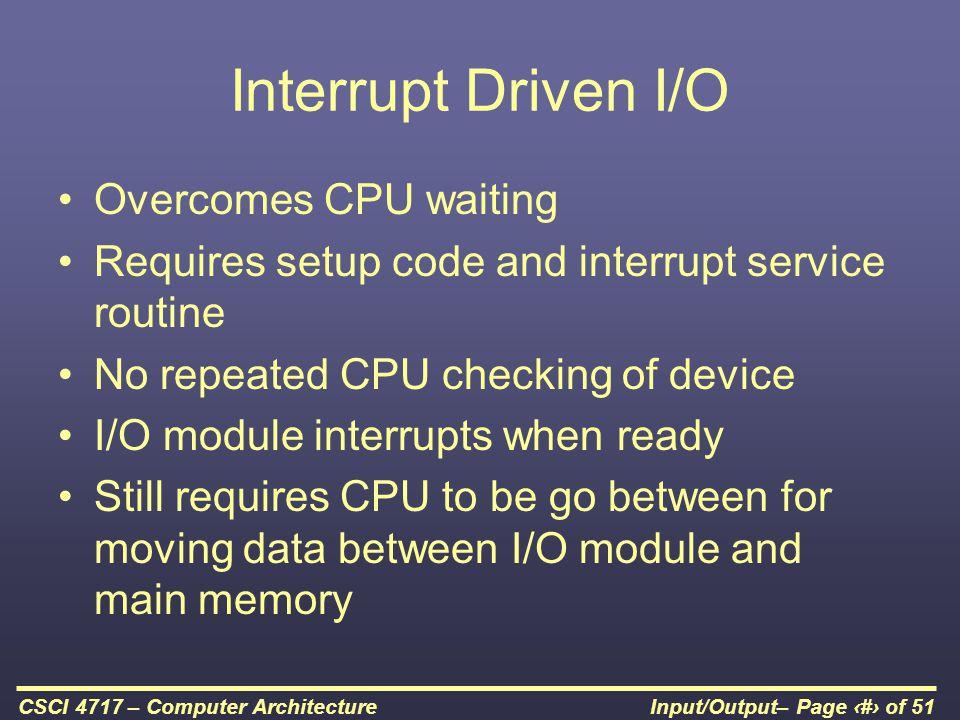 Interrupt Driven I/O Overcomes CPU waiting