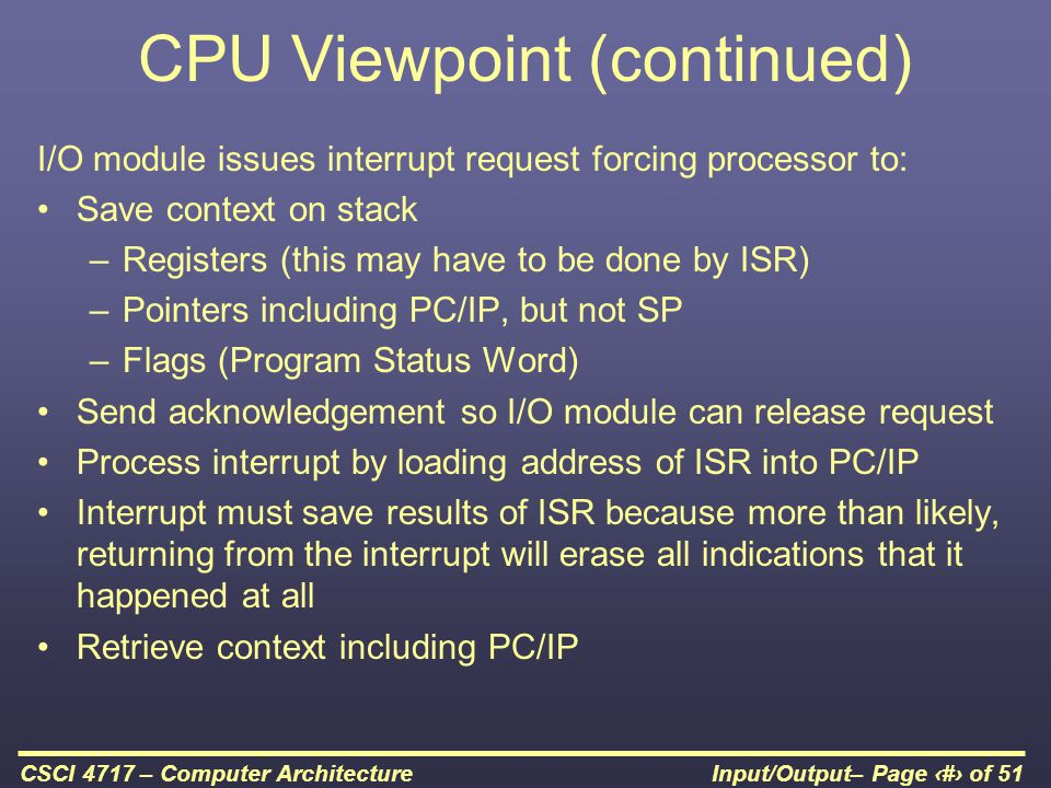 CPU Viewpoint (continued)