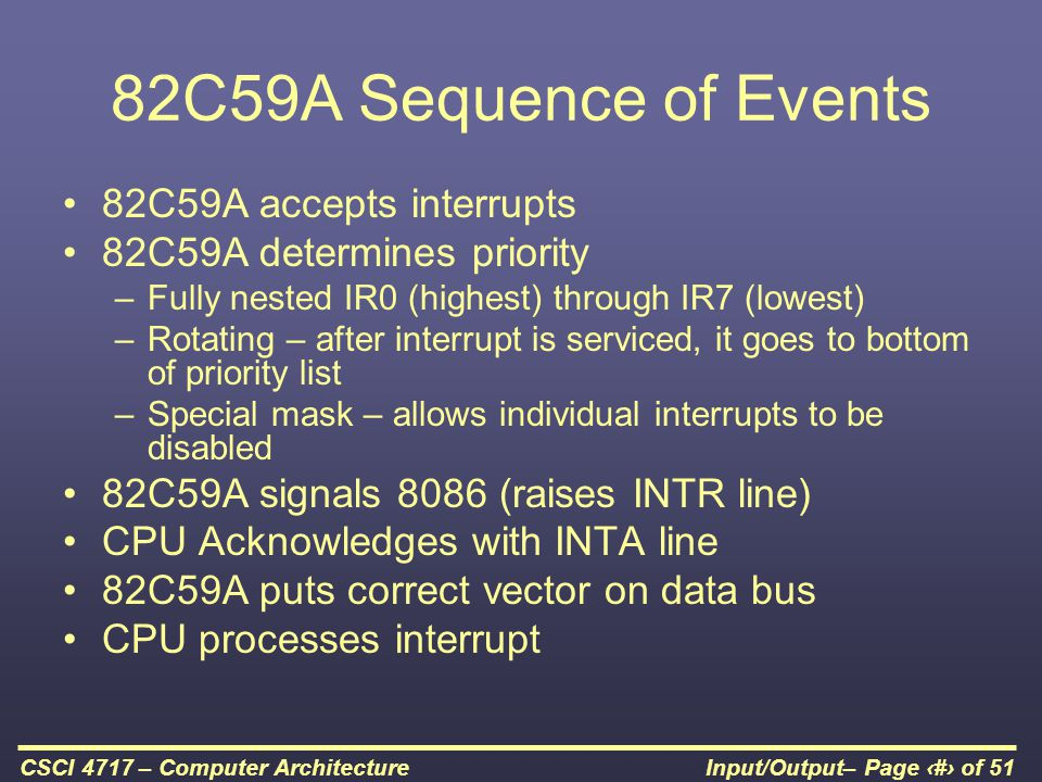 82C59A Sequence of Events 82C59A accepts interrupts