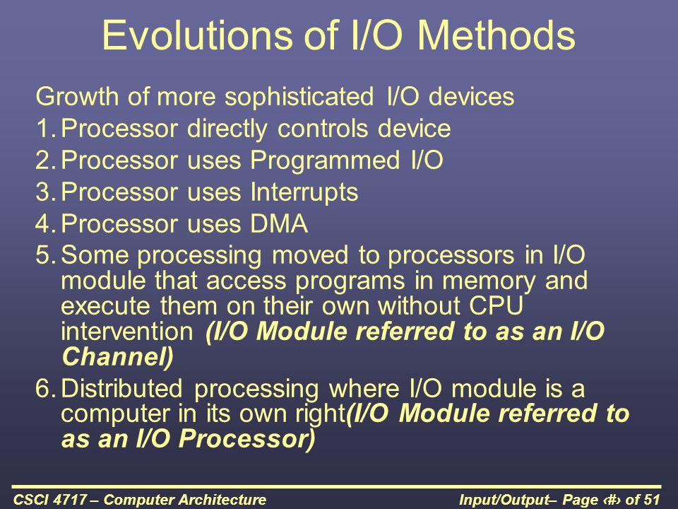 Evolutions of I/O Methods
