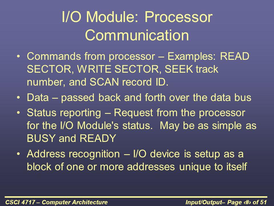 I/O Module: Processor Communication