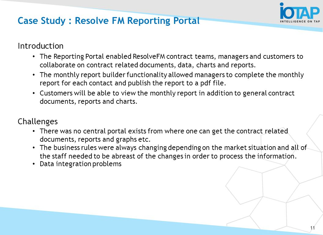 Case Study : Resolve FM Reporting Portal